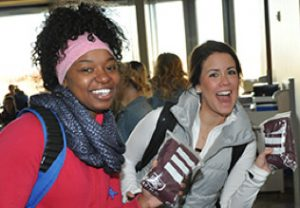 Happy students at open house event;