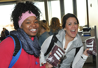 Happy students at open house event