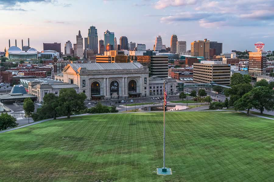 Skyline of Kansas City from the liberty memorial, union station in the foreground