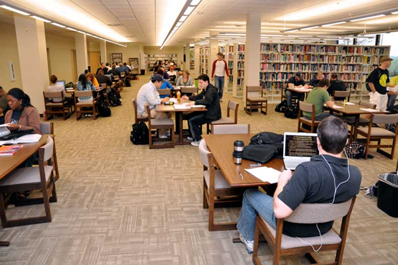 CUKC students studying in library