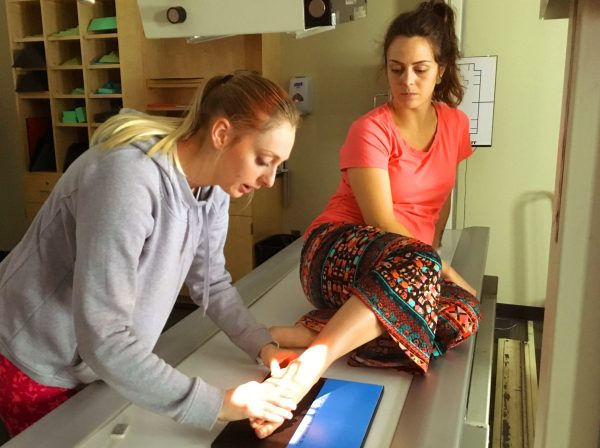 Rad Tech students have class lectures and have practice sessions in the on-campus lab